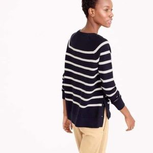 J. Crew White Striped Crewneck Side Snap Sweater
